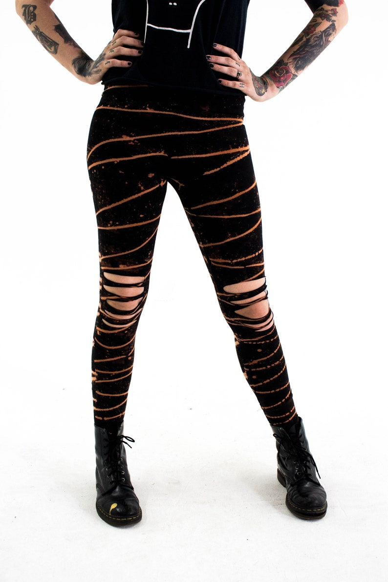 Loungewear Leggings Shredded Dreams Bleached Grunge Clothing Ripped Alternative Distressed Leggings Punk Post Apocalyptic Clothing