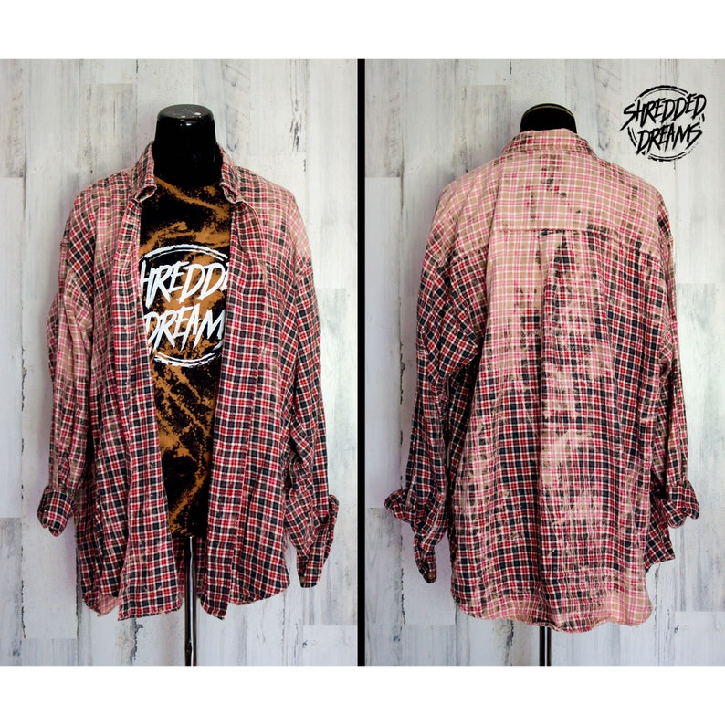Bleached Flannel Shirt, Custom Clothing, Edgy, Alternative Clothing, Grunge  Clothing, Splatter, Bleached Top, Shredded Dreams, XLarge