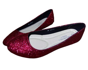 fb54a94beceb Raspberry Red Glitter Women s Prom Flat Shoes Hand Glittered Party  Ballerinas Bridesmaid Wedding Shoes Custom Slip-on Shoes Sparkly Pumps