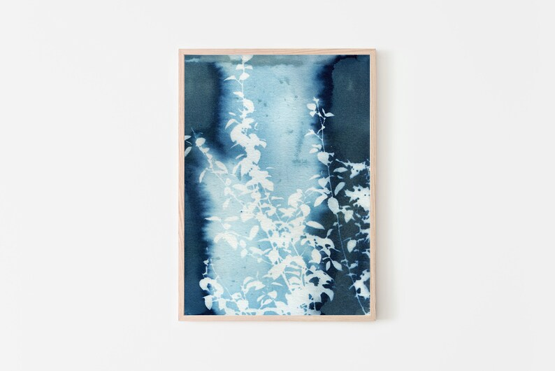 Abstract Art Cyanotype Botanical Art Prints Blue Flower Art image 0
