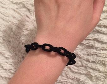 Black Velvet Chain Link Bracelet