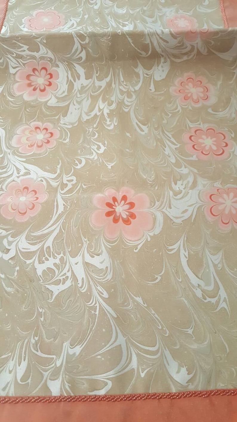 Pure Silk  table Runner with Ebru marble flower pattern