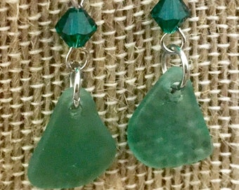 Teal genuine sea glass earrings with SWAROVSKI crystal accents. The sea glass was found by me in Puerto Rico.gift for  ocean or beach lover