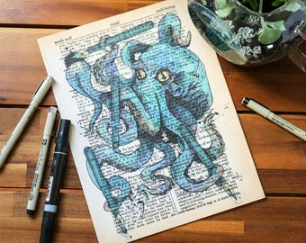Octopus on Vintage Dictionary Page