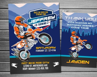 Motocross Birthday Invitation Invite Party Motorbike Dirt Bike Printable