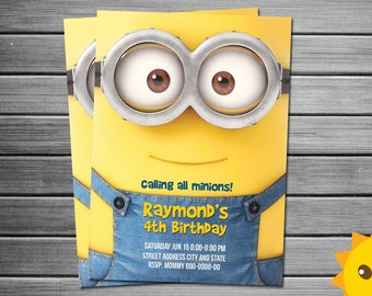 minion invitation etsy