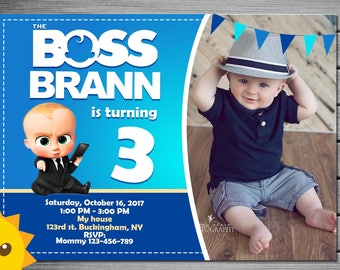 Boss Baby Invitation, Boss Baby Birthday Invitation, Boss Baby party, Boss Baby Birthday, Boss Baby Invitations, free thank you card