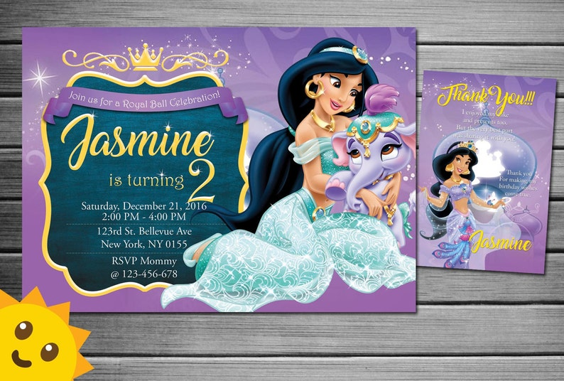 Princess Jasmine Invitation Birthday Party Printable