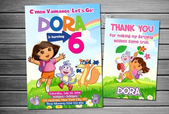 Customized Dora The Explorer Invitation Dora The Explorer Birthday Invitation Dora The Explorer Invite Invitation Birthday