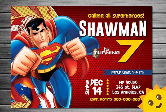 Superman Invitation Superman Birthday Superman Party Etsy