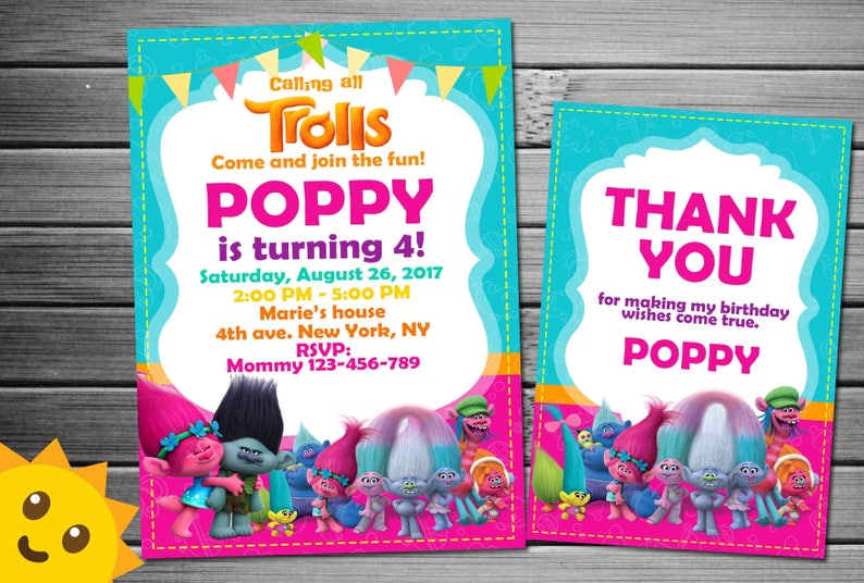 Trolls Invite For Birthday Party Printable Invitation