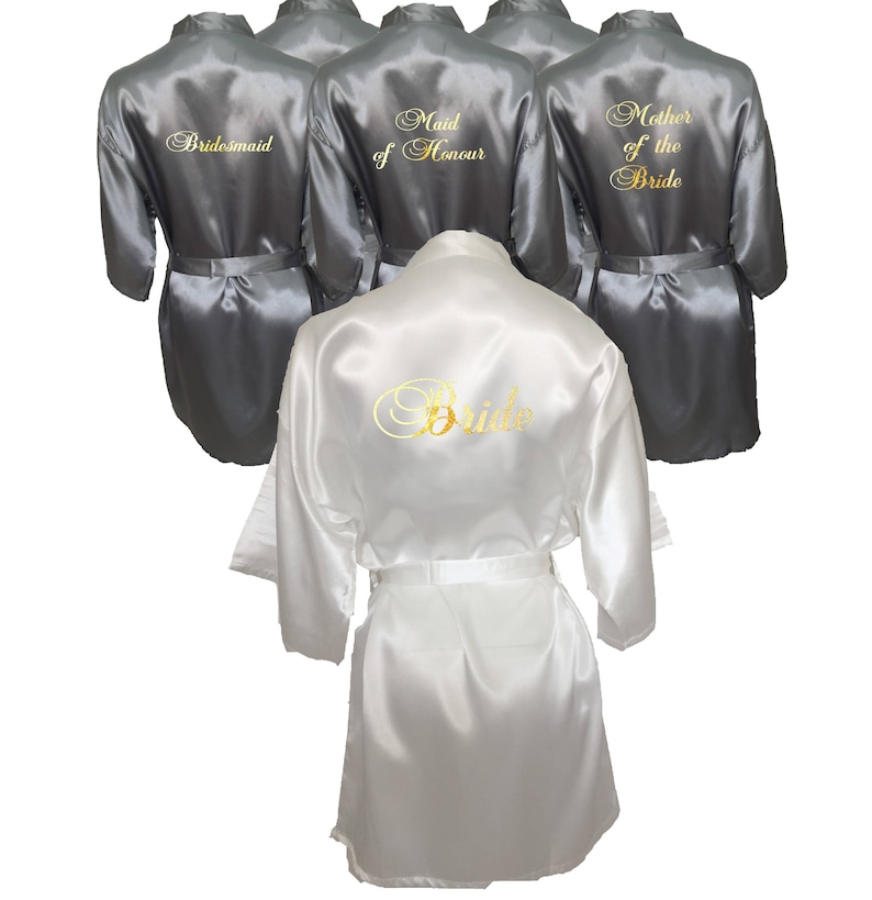 50f39fc18092 Silver Bridal Party Robes Set of 6 Personalised Robes