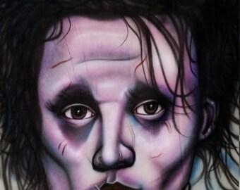 edward scissorhands portrait mural