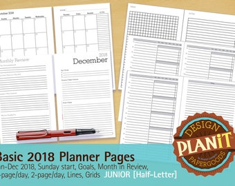 2018 Basic Planner Assortment, Junior, Printable, 2018 Monthly, Undated Daily, Lines, Grids, Goals, Month in Review INSTANT DOWNLOAD