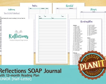 Reflections Scripture Study & Prayer Journal, SOAP Journal, Junior, Planner Insert, Printable, INSTANT DOWNLOAD