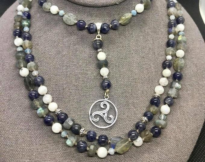 Featured listing image: Celtic Paidirean of Macha - Labradorite, Iolite, Rainbow Moonstone, Aquamarine, Sterling Silver - 150 Beads Hand Knotted