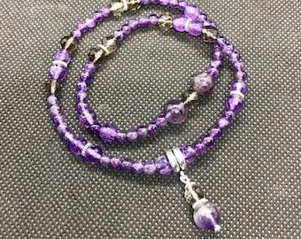for Theia - Amethyst, Smoky Quartz, Sterling Silver - Goddess Bracelet