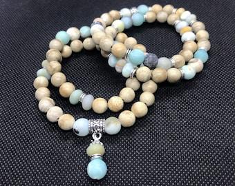 Inner Peace - Amazonite, Sandalwood, Thai Silver - Goddess Bracelet