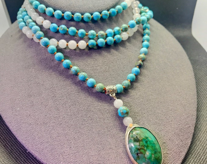 Featured listing image: Celtic Paidirean - Sacred Waters - Turquoise, White Jade, Chrysocolla - 150 Beads Hand Knotted