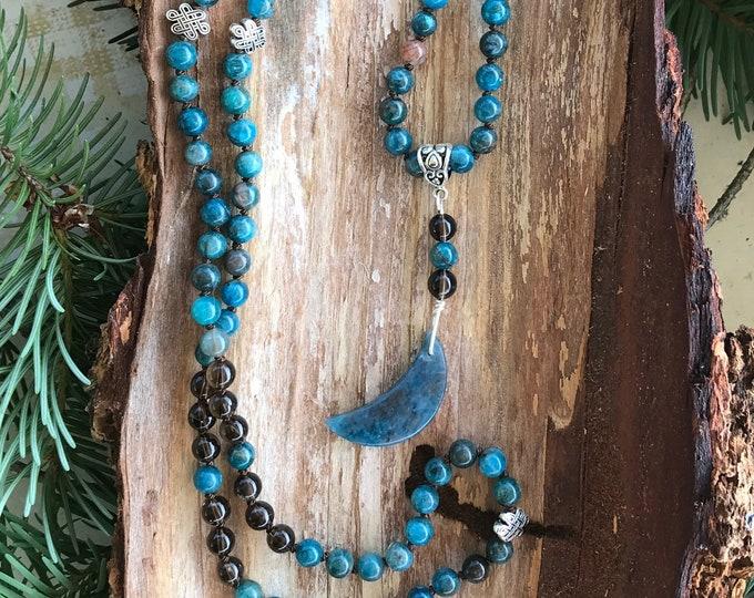 Featured listing image: Mala - Luna Blue Moon  - Blue Apatite, Smoky Quartz - 108 Beads Hand Knotted