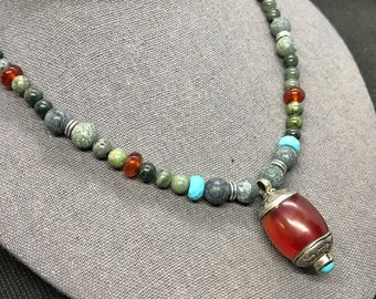 Goddess Necklace Isis - Kambaba Jasper, Carnelian, Turquoise- Goddess Necklace