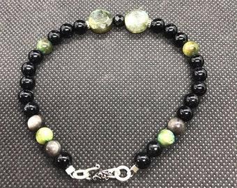 Bracelet of the Gods - Lugh -  Silver obsidian, Labradorite, Black Labradorite, Sterling Silver