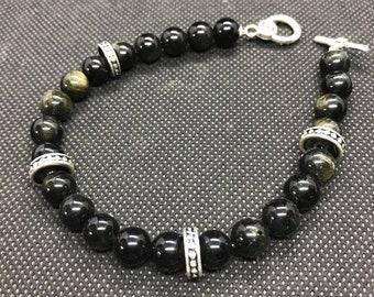 Bracelet of the Gods - Cerunnos - Golden Obsidian, Sterling Silver