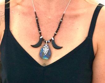 Triple Goddess - Labradorite, Obsidian, Sterling Silver- Goddess Necklace