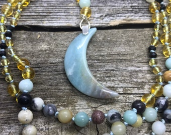 Pentheselia - Celtic Paidirean - Citrine, Amazonite, Black Tourmaline, Sterling Silver - 150 Beads Hand Knotted