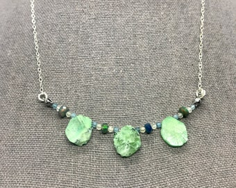 Goddess Necklace For Ceridwynne - Emerald, Black Opal, Blue and Green Kyanite- Goddess Necklace