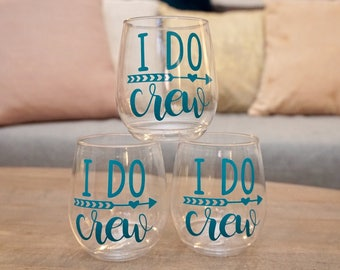 I DO CREW Stemless Plastic Wine Glass - Sustainable Tossware | Bridesmaid Proposal Gift Box | Bachelorette Girls Night Out | Wine Glasses