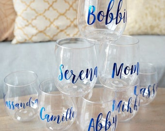 Personalized Stemless Plastic Wine Glass - Sustainable Tossware | Bridesmaid Proposal Gift Box | Bachelorette Girls Night Out | Wine Glasses