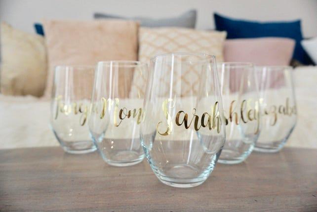 ebb5dbe54b1 Personalized Stemless Wine Glass 19 oz. Bridesmaid | Etsy