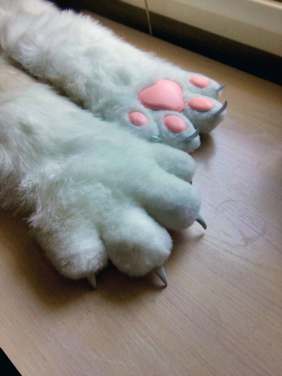 Cat Gloves Furry Fluffy Cat S Legs Gloves Cosplay Party Etsy