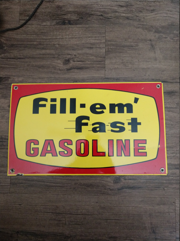 rare large gasoline porcelain sign - HD2250×3000
