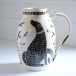 Labrador ceramic water pitcher / jug black and white a perfect gift for dog lovers by Simon Olley Pottery