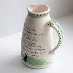 Ceramic custom dog jug/pitcher made and illustrated with your dog by Olley Pottery