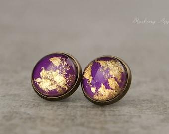 Stud earrings-purple with gold leaf, 12 mm/hand-painted stud earrings