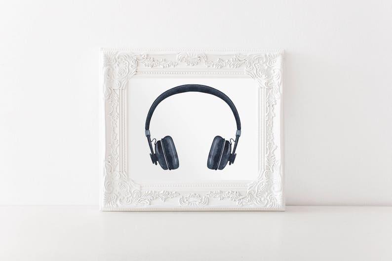 Headphone Digital Art Print | Printable Art | Gift for Musicians |  Downloadable Art | Instant Download | 8x10 Print | PDF File | Music Art