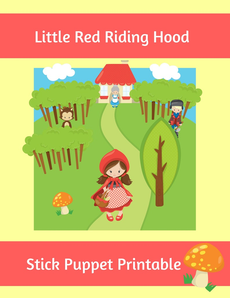 graphic relating to Little Red Riding Hood Story Printable identified as Minimal Crimson Using Hood Adhere Puppet Printable 15 Variables Incl Record  Storytelling Puppet Tale Theater Printable Substantial Undesirable Wolf