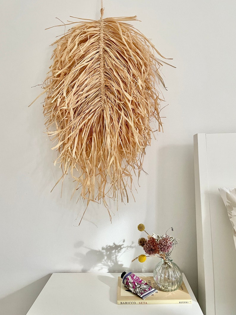 Large Natural Raffia Leaf/ Raffia Feather Wall Hanging from image 0