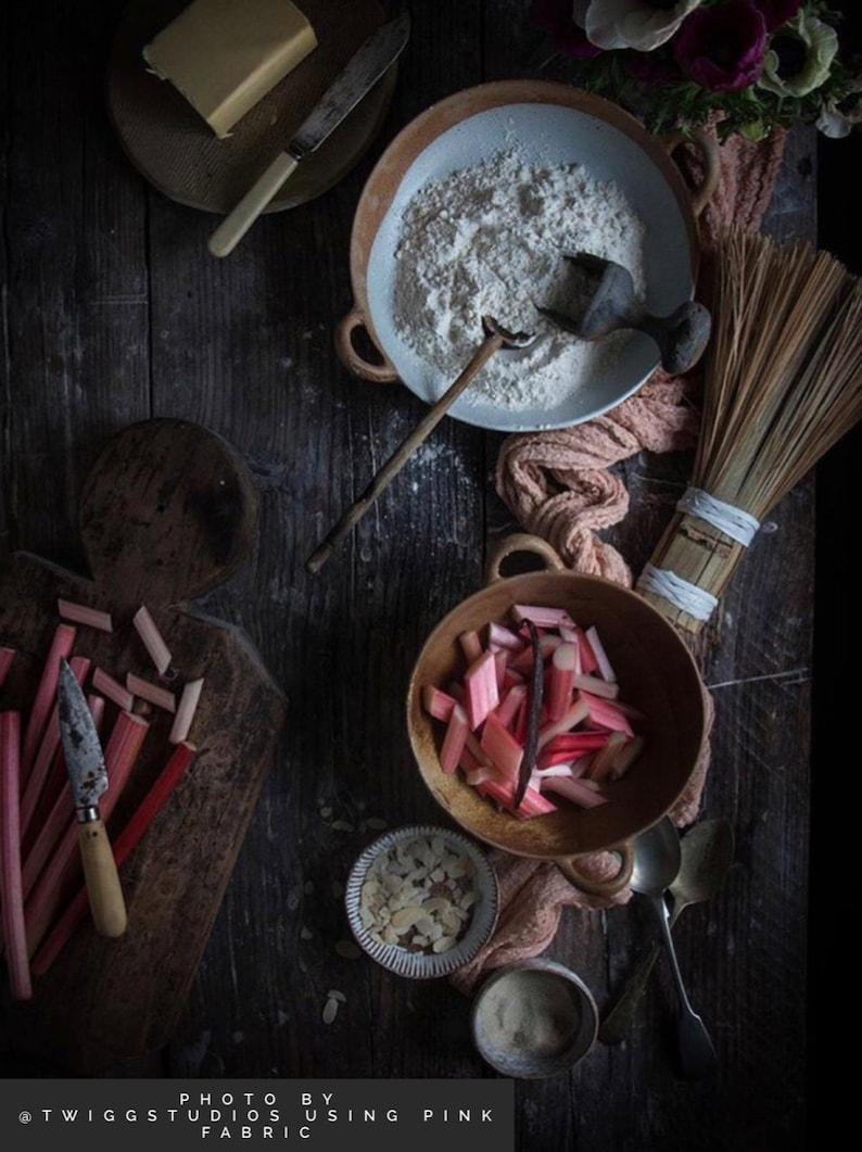 Stylish flatlay with rhubarb by Twigg Studios.