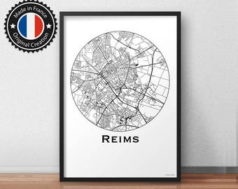 Poster Reims France Minimalist Map - City Map