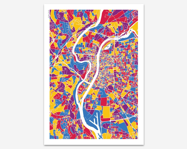 Poster Lyon France Multicolor Map City Map Street Map Etsy