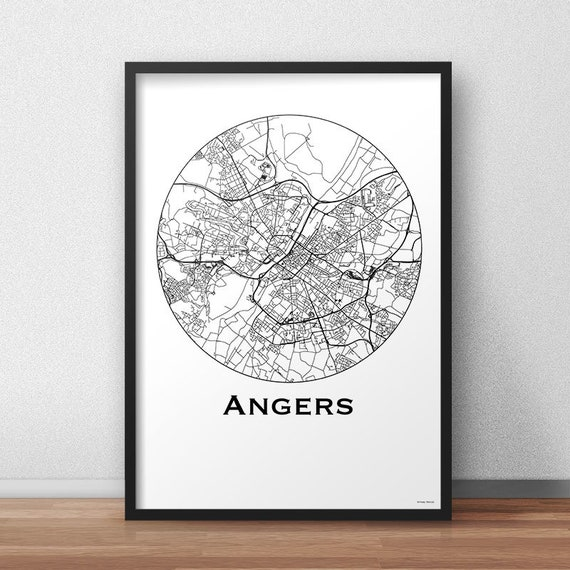 Poster Angers France Minimalist Map City Map Street Map Etsy