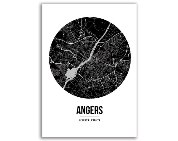 Poster Angers France Street Map City Map Etsy