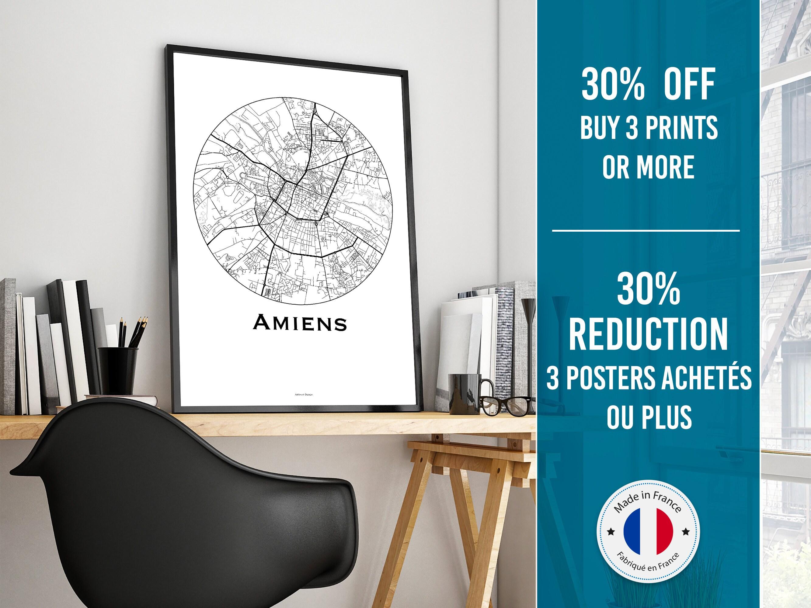 Decoratrice D Interieur Amiens affiche carte amiens france minimalist map | city map, poster de ville,  décoration murale, plan de ville
