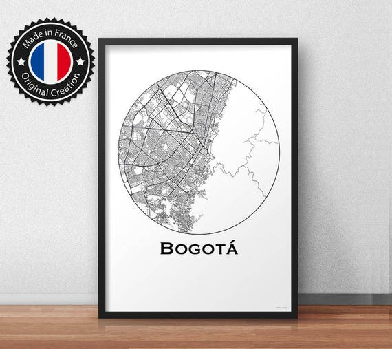Poster Bogota Colombia Minimalist Map City Map | Etsy