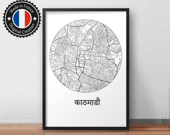 Poster Kathmandu Nepal Minimalist Map - City Map