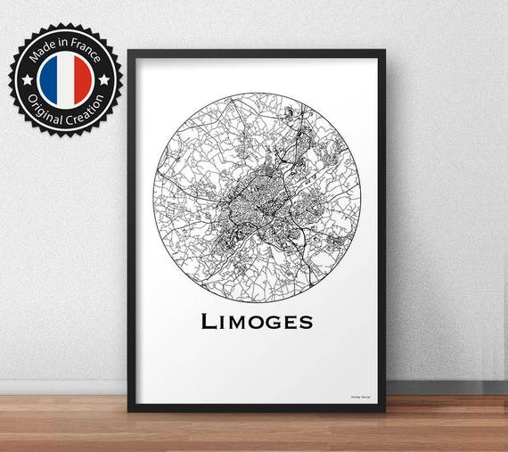 Poster Limoges France Minimalist Map City Map Street Map - Limoges france map